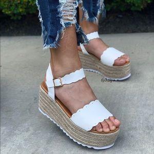 White Scalloped espadrille sandal